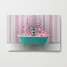 Reindeer turquoise Bathtub pink Lotos Flower Blossoms Metal Print