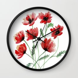 Red Poppy Flowers in Watercolours Wall Clock