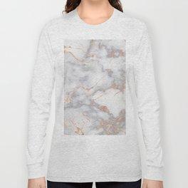 Gray Marble Rosegold  Glitter Pink Metallic Foil Style Long Sleeve T-shirt