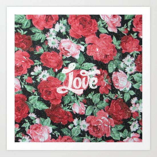 Red Pink Roses Chic Love Vintage Floral Pattern Art Print