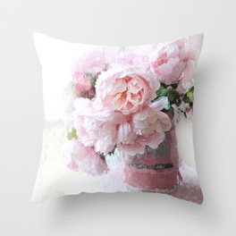 Impressionistic Dreamy Peony Peonies Wall Art Home Decor Throw Pillow