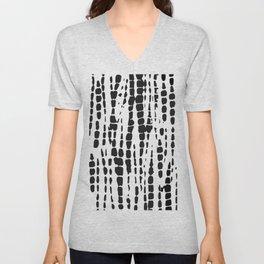 Black and White Tie Dye Unisex V-Neck