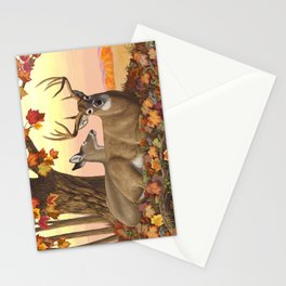 Whitetail Deer Doe & Trophy Buck Maple Trees Fall Colors Stationery Cards