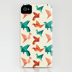 teal paper cranes iPhone (4, 4s) Slim Case