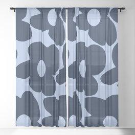 Large Dark Blue Retro Flowers Baby Blue Background #decor #society6 #buyart Sheer Curtain