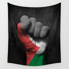 Palestinian Flag on a Raised Clenched Fist Wall Tapestry