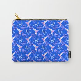 Pretty beautiful cute pink hummingbirds, delicate twigs little leaves blue pattern. Gift ideas Carry-All Pouch