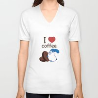 coffe V-neck T-shirts featuring Ernest | Love coffe by Hisame Artwork