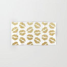 Gold Glitter Lips Hand & Bath Towel
