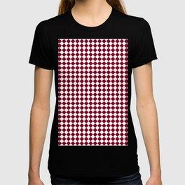 White and Burgundy Red Diamonds T-shirt