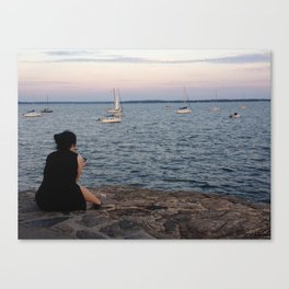Evening Mourning By Moorings Canvas Print