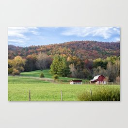 Red Barn Fall Art Canvas Print