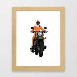 The first dog in space Laika on motorbike Framed Art Print
