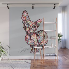 sweet cat line style - gatto dolce - chat doux - gato dulce Wall Mural