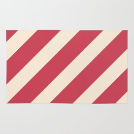 Antique White and Brick Red Stripes Rug