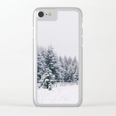 Trees covered in heavy snow. Matterdale End, Cumbria, UK. Clear iPhone Case