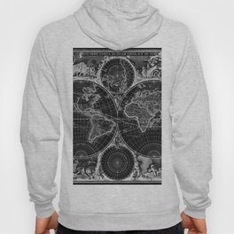 Black and White World Map (1670) Inverse Hoody