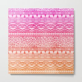 Modern pink ombre watercolor aztec leopard pattern Metal Print