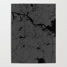 Amsterdam Gray on Black Street Map Poster