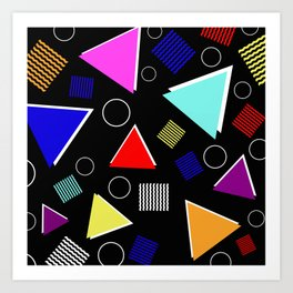 Fun Retro - Triangles, rings and waves patterned design, blue, red, purple, pink, yellow Art Print