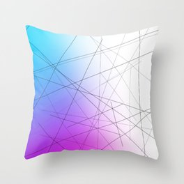 Minimal Thin Line with Blends of Cyan Magenta and White Throw Pillow