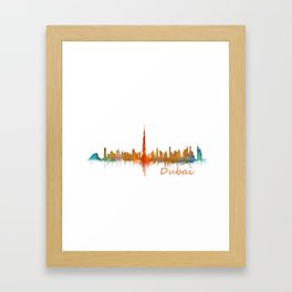 Dubai, emirates, City Cityscape Skyline watercolor art v2 Framed Art Print