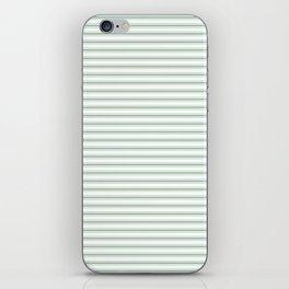 Mattress Ticking Narrow Horizontal Striped Pattern in Moss Green and White iPhone Skin