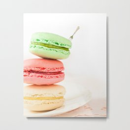 Macaron, Macarons, Macaroons, Tiny Silver Fork Metal Print