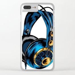 Blue and Gold Headphones Clear iPhone Case