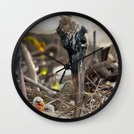 Wood Stork and her Babies Wall Clock