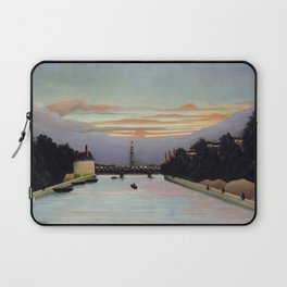 Sunset and Neon Lights at the The Eiffel Tower, Paris, France by Henri Rousseau Laptop Sleeve