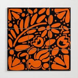 Beautiful Orange Otomi Wood Wall Art