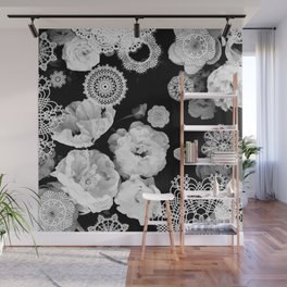 Monochrome Lace and Roses Wall Mural