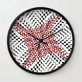 black white red 2 Wall Clock