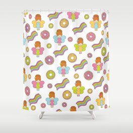 Cute fairies with donuts and rainbows. Shower Curtain