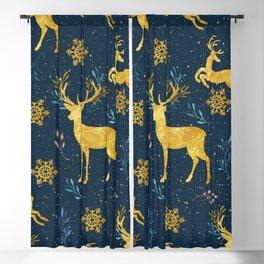Golden Reindeer Blackout Curtain