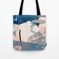 Peaches and Dream: pretty abstract mixed media piece in blues pinks and green Tote Bag