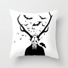 Halloween Skull Horn Throw Pillow