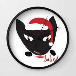 Bad Cat Santa Wall Clock