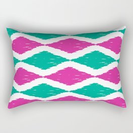 Summer Jumbo Zoom Scale Ikat Print in Magenta and Turquoise Rectangular Pillow