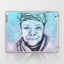 Maya Angelou Portrait on Blue and Pink Laptop & iPad Skin