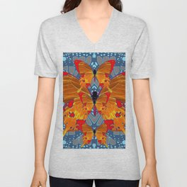 ORANGE BUTTERFLIES  BABY BLUE ABSTRACT PATTERN ART Unisex V-Neck