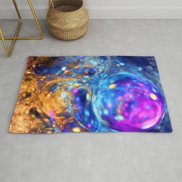 yellow and blue bubbles abstract Rug