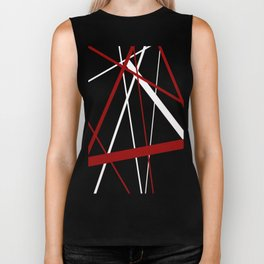 Red and White Stripes on A Black Background Vector Biker Tank
