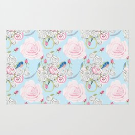 Shabby Chic Bluebirds and Watercolor Roses on pale blue Rug