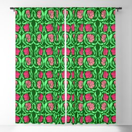 William Morris Pimpernel, Coral Pink and Green Blackout Curtain
