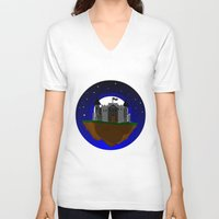 castle in the sky V-neck T-shirts featuring Castle in the Sky by AjDreamCraft