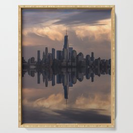 NYC skyline reflection Serving Tray