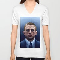 james bond V-neck T-shirts featuring James Bond by Vincent Leung