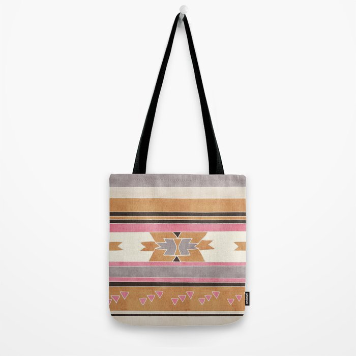 Rustic Tribal Pattern in Raw Sienna, Strawberry and Ash Tote Bag